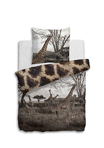 Heckett u. Lane I Bettwäsche Ilo I Größe 135x200 80x80cm I Fotodruck Giraffe Afrika Landschaft (Bettwäsche Giraffe)