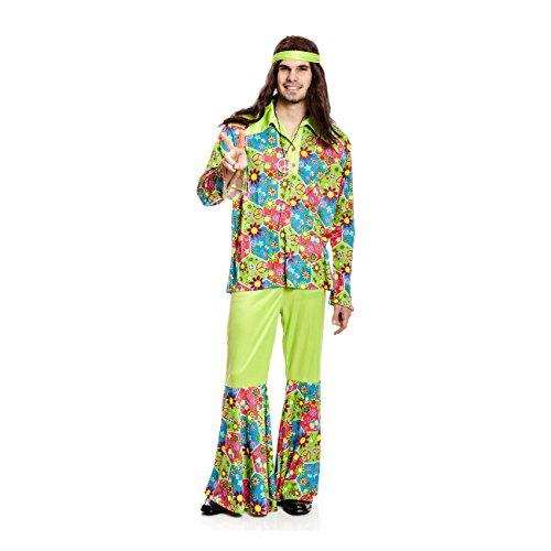 Kostümplanet® Hippie-Kostüm Herren Flower-Power 60er Jahre Verkleidung Fasching Größe (Für 60er Kostüme Frauen Jahre)