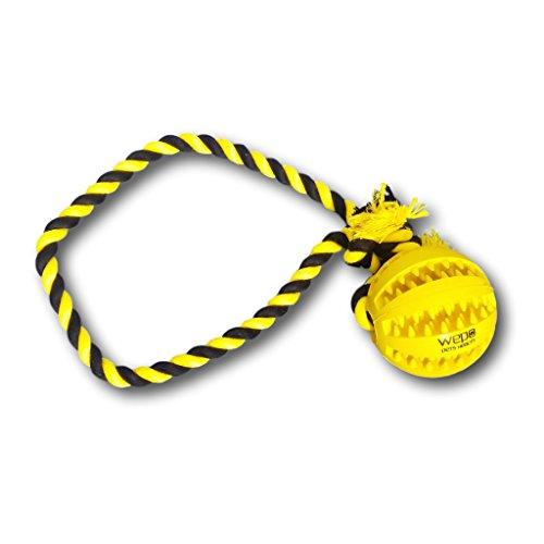 WEPO Hundespielzeug - Schleuderball mit Seil aus Naturkautschuk - für Welpen - - Wepo Hundespielzeug