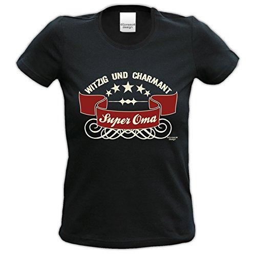 Geschenk-Set : Super Oma : Sprüche T-Shirt & Urkunde Geschenk-idee für Frauen Geburtstagsgeschenk Weihnachtsgeschenk Farbe: schwarz Schwarz