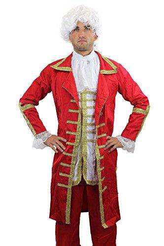 Kostüm König Piraten - dressmeup Roter Baron: Hochwertiges Kostüm Herrenkostüm Barock Mozart Edelmann Adliger König Gr. 56, XL