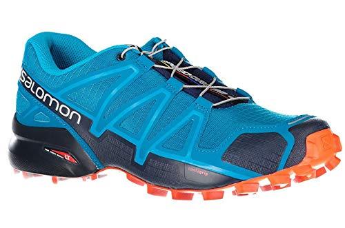 Salomon Herren Trailrunning-Schuhe, SPEEDCROSS 4, Farbe: Blau (Fjord Blue/Navy Blazer/Cherry Tomato), Größe: 42 2/3 -