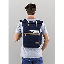 Ansvar I Rucksack Roll Top aus Bio Baumwoll Canvas - Hochwertiger Damen & Herren Vintage Tagesrucksack aus 100% nachhaltigen Materialien - GOTS & Fairtrade, Farbe:blau