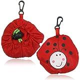 WSS–tragbare wiederverwendbare Einkaufstasche, mit niedlichen Tieren, Öko-Lebensmitteltasche, faltbar, mit Klemme Rot Marienkäfer