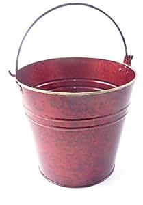 Calipso X09408 Weihnachtlicher Blumeneimer, Zink, burgunderrot