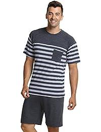 QianXiu Ensemble de vêtements de nuit Pyjamas pour hommes Vêtements de nuit rayés Vêtements de style en coton Manches courtes pour hommes Ensembles de pyjama