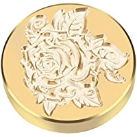 DeeCozy Cabeza de Sello, Retro Christmas Wax Seal Brass Stamp Head, Stamp Arts Crafts Romantic Symbol Wax Seal Stamp Metal Stamp Fancy Greetings for Wedding Invitation Letter (Rosa 2))