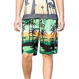 MAYOGO Herren 3D Druck Hawaii Boxershorts Badeshorts Beachshorts Boardshorts Badehose Schwimmen Strand Shorts Männer Hawaii Leisure Feiertags Palmen Beach 3D Print Surffing Shorts