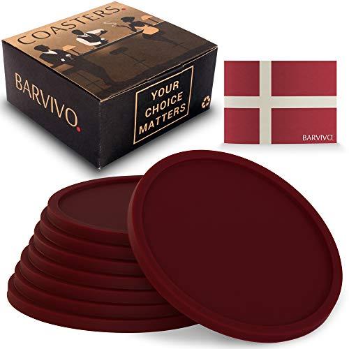 BARVIVO Rot Getränkeuntersetzer 8er Set –Tischplattenschutz Für Alle Tische, Holz, Granit, Glas,...
