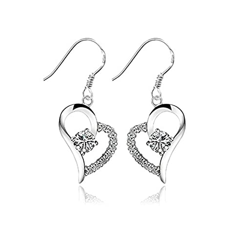 TININNA Mode Forme de Coeur Cristal Boucles d'Oreilles Crochet Pendantes Chaîne Argent Fin 925 Bijou Femme Fille Argent