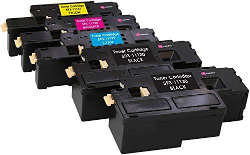 5er Set Premium Toner kompatibel für Dell C1660, C1660W, C1660DW, C1660CN, C1660CNW | Schwarz 1.250 Seiten & Color je 1.000 Seiten