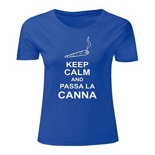 Art T-shirt, Maglietta Passa la Canna, Donna Blu