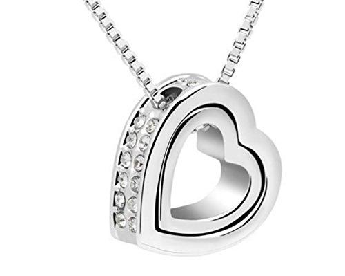 Edle Designer Kette Halskette mit Herz Ring Anhänger Herzkette Ringkette mit Strass verziert...