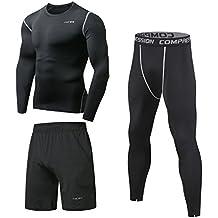 Niksa 3 Piezas Conjunto Camiseta Compresión Ropa Deportiva Hombre Pantalones  Cortos y Leggings y Tops Apretada 7589bc0dd57d
