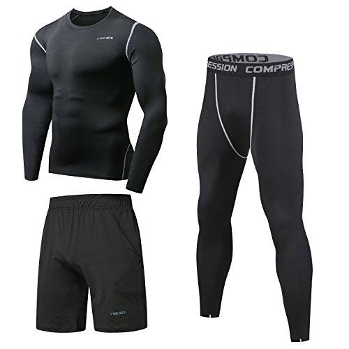 Sportbekleidung Herren Niksa Fitness Bekleidung Trainingsanzug 3pcs set Fit elastische Sportwear fitness Gym Yoga kompressionsshirt funktionsshirt sporthose leggings