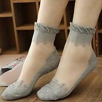 A-goo Calcetines de seda de cristal ultrafino calcetines de encaje de algodón antiarrugas de seda (gris)