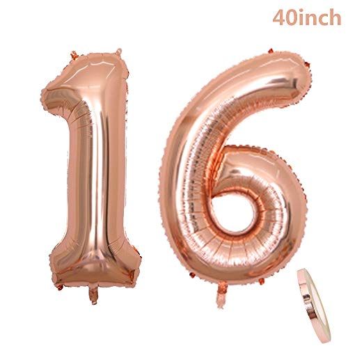 (2 Luftballons Zahl 16, Nummer 16 Geburtstags Dekoration Rosegold Mädchen ,40 Zoll Aufblasbar Helium Folienballon Roségold Ballons Figuren ,16 Riesen Helium Folie Luftballon für Sweet Geburtstag Party Dekoration, Valentinstag, Abschlussball (xxxl 100cm ))