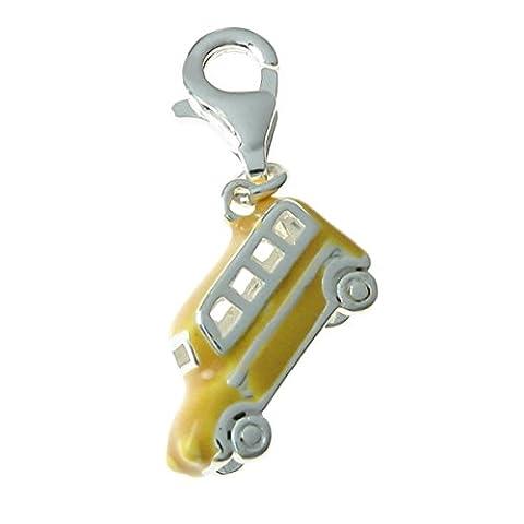 Queenberry Argent 925/1000–Émail jaune 3 d en forme de Bus Coach européen à Clip en forme de W/Lobster
