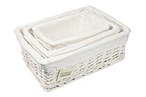 Woodluv wicker storage basket with lining, set of 3, white