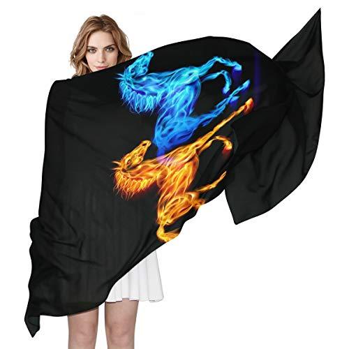 BIGJOKE Damen Schal aus Seide, mit Pferde-Motiv, leicht, lang, weich, Chiffon, Schal, Wickelschal, für Damen/Mädchen und Herren