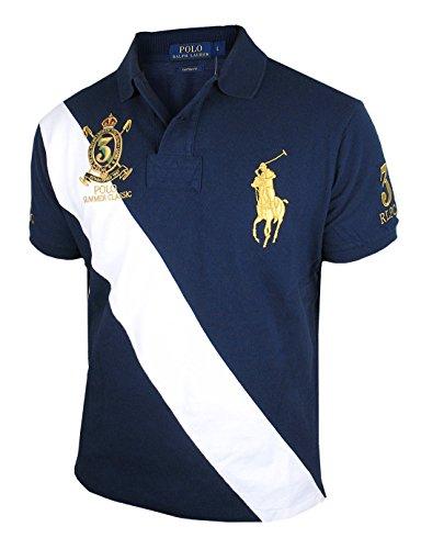 RALPH LAUREN Herren kurzarm Poloshirt Custom Fit W1A1A/B (L, Navy) (Big Mesh-polo Pony)