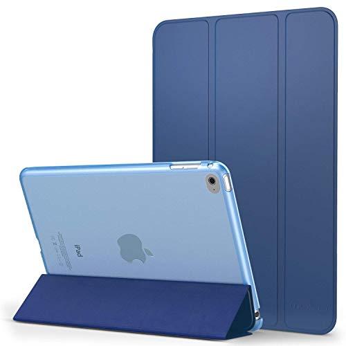MoKo Hülle Kompatibel für iPad Mini 4 - PU Leder Tasche Schutzhülle Schale Smart Case mit Transluzent Rücken Deckel, mit Auto Schlaf/Wach Funktion und Stanfunktion, Gold