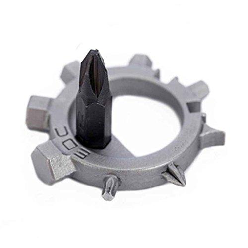Uzinb Mini Multi Tool 12 Fonctions Vitesse Outils de réparation de vélos en Acier Inoxydable Tournevis Porte-clés Ouvre Portable Bouteille