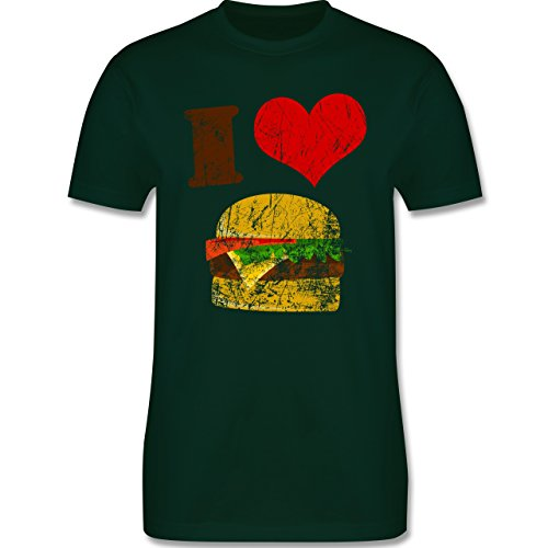 lustige Fotomotive - I love Burger - L190 Herren Premium Rundhals T-Shirt Dunkelgrün
