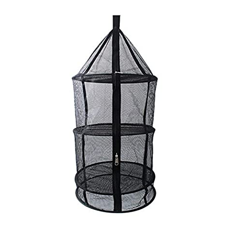 niceeshop(TM) Reusable Drying Hanging Rack Net,4 Layer Outdoor Round Folding Camping Dry Net Picnic Tableware Fruit and Vegetable Hanging Storage Mesh