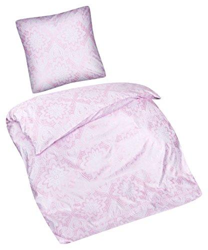 Aminata - glänzende Bettwäsche 135x200 cm Mikrofaser + Reißverschluss Rosa mit Metallic Effekt | für Allergiker geeignet | Blumen Blümchen gemustert Ornamente Paisley Mandala Bettwäscheset Bettbezug (Bett Metallic-set)