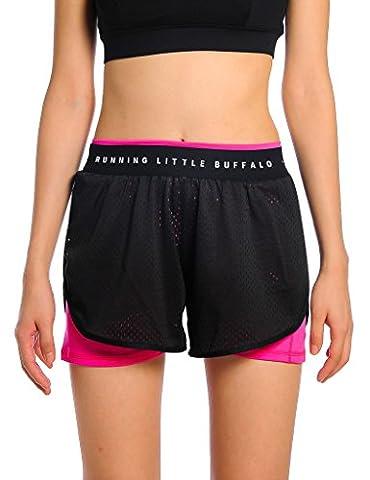 JIMMY DESIGN Damen Fitness Shorts Sommer Schwarz + Rosa - M