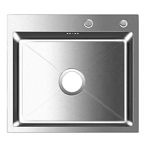 Auralum Küchenspüle Edelstahl Einbauspüle Waschbecken Spüle Eckige Edelstahlspüle für Wasserhahn