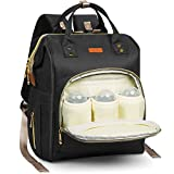 HOMIEE Sac à dos, sac à langer, grande capacité, polyvalent, imperméable, sac fourre-tout avec 3 poches à bouteille isotherme, port de charge USB (Noir)