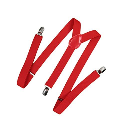 Tirantes Elásticos Y Rojos Unisex - Ancho 25mm Ajustable