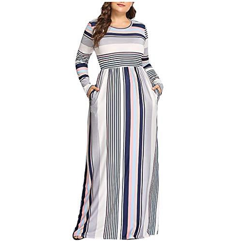 Damen Elegant Mode Frauen Plus Größe O-Ansatz Streifen Gedrucktes Langes Hülsen-Maix-Kleid Von Evansamp(Blau,Xxxxxl) ()