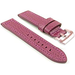 DASSARI Baron Textured Grain Purple Leather Watch Strap Band w/ PVD Rose Gold Buckle 26mm