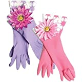 One Pair of Flower Marigolds Washing Up Rubber Gloves (Colour May Vary)