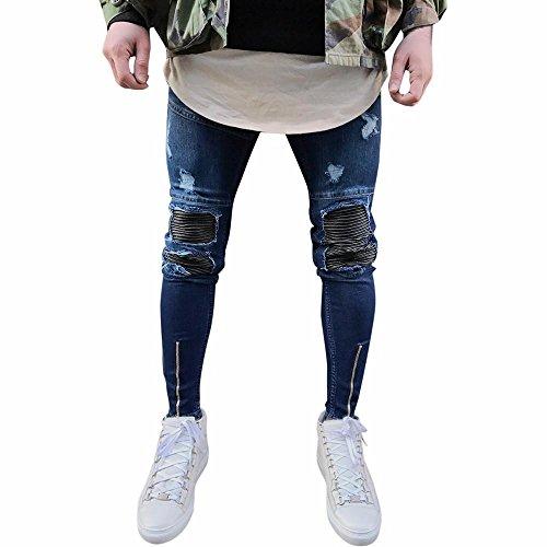 ZEZKT-Herren Dunkelblau Vintage Look Denim Jeans Hose Cargohose Freizeithose Casual Straight Leg Jeans Skinny Destroyed Usedlook Slim Jeanshose Stretch Blau Freizeithose (28, Blau) (Jeans Straight Taille Skinny Leg)