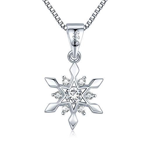 LEVIOLET Schmuck Damen Schneeflocke Kette Silber 925 Halskette mit Anhänger Weihnachten Geschenk für Frauen