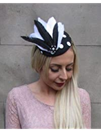 Large White Leopard Animal Print Flower Feather Hat Fascinator Headband 6658