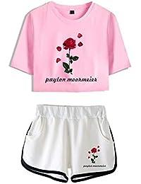 Shorts Cortos para Niñas 2 Piezas Camiseta De Manga Corta Conjunto De Top Y Pantalones Cortos Ropa Casual De Verano Pijamas Ropa De Yoga