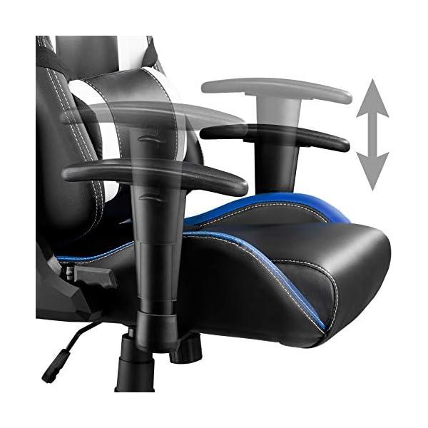 TecTake Silla de Oficina ergonomica Racing Gaming con Soporte Lumbar (Negro-Verde-Blanco | no. 402291)