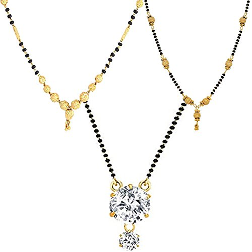 Zeneme Combo of 3 Gold Plated & American Diamond Mangalsutra Necklace for Women  available at amazon for Rs.199