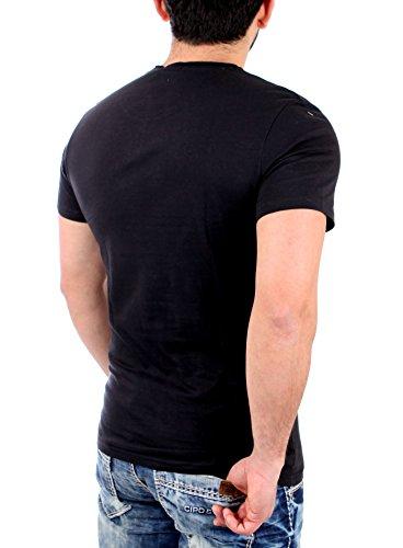 Reslad T-Shirt Herren SUNSET Motiv Print Kurzarm Shirt RS-2020 Schwarz