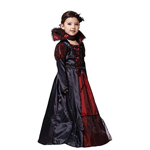 WSJDE Halloween Girls Costumes Vampire Queen Children Costume Halloween Kids Black Lace Party Dress Necklace Set Boy Couple Clothing M