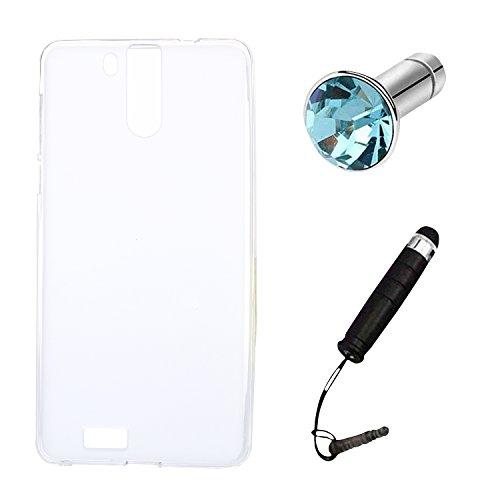 Lusee® Silikon TPU Hülle für Oukitel K6000 Pro 5.5 Zoll Schutzhülle Case Cover Protektiv Silicone halb transparent weiß