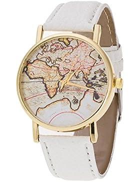 SAMGU Vintage Weltkarte Alloy Damen Herren Analog-Quarz-Armbanduhren Uhren World Map Watches Farbe Weiß