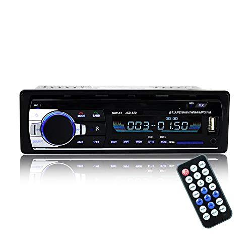 Bluetooth Autoradio,SUAVER Single-Din Auto Audio Stereo FM Radio, Auto MP3 Player USB/SD/AUX/Freisprecheinrichtung mit Fernbedienung,Digitaler Medienempfänger (JSD-520)