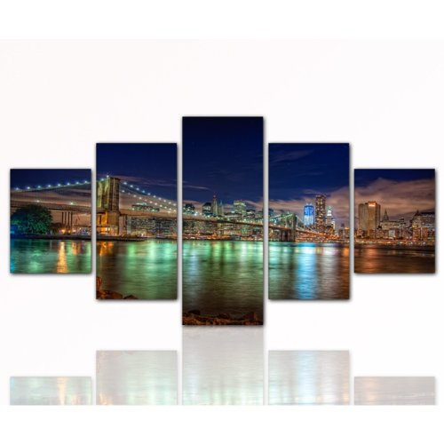 5 teiliges Leinwandbild der Brooklyn Bridge (New York View 5teilig 80x160cm) Bild auf echter Leinwand und Keilrahmen, der aktuelles Design! Modern Art Pics in hoher Qualität als original Kunstdruck (Amerika USA New YORK Big Apple Manhatten Brooklyn Bridge Skyline Nacht)
