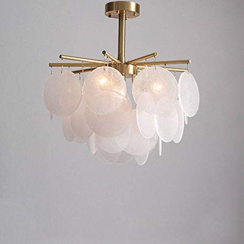 XXQ Nordic postmodernen Kupfer Kronleuchter, Glas runde Deckenleuchte E27 Sockel Blütenblatt Design Innenwohnzimmer Tischbeleuchtung -